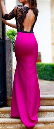 The lace..the open back..the hotpink .. what a gorgeous dress!!!!