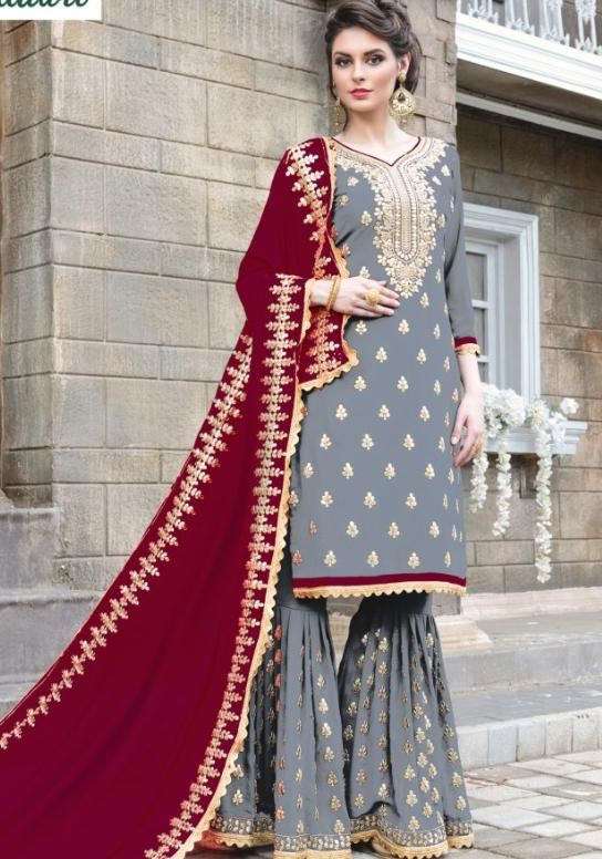 8dc6f675939 Gorgeous Party Wear Sharara Style Salwar Suit
