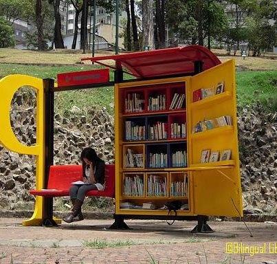 Bus stop in Bogota.