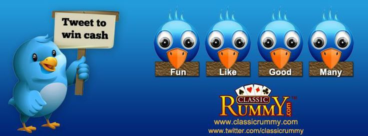 #New #Words For This Week - #Tweet your way to #Win #Cash!!!  The #player with best caption gets Rs.500 Cash!  Here Is What You Need To Do:  Follow us on Twitter: https://twitter.com/classicrummy  Write a creative sentence using the words: FUN, LIKE, GOOD, MANY along with #Classic #Rummy.  *Tweet the sentence along with this link: www.classicrummy.com?link_name=CR-12