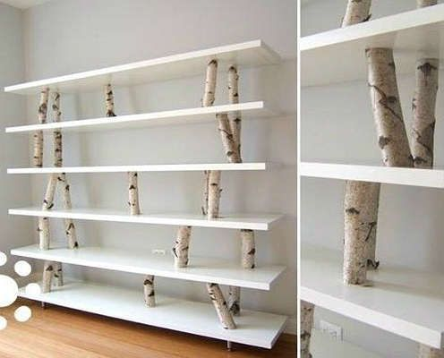Diy tree branch shelving unit diy storage bob vila 39 s for Tree shelving unit