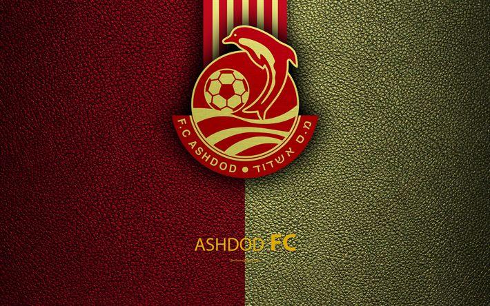 Download wallpapers Ashdod FC, 4k, football, logo, emblem, leather texture, Israeli football club, Ligat HaAl, Ashdod, Israel, Israeli Premier League