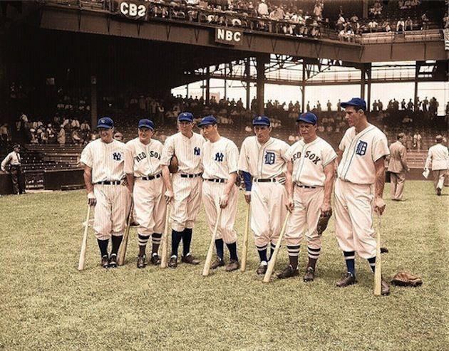 1937 AL all stars; Lou Gehrig, Joe Cronin, Bill Dickey, Joe DiMaggio, Charlie Gehringer, Jimmie Foxx and -- towering above all -- Hank Greenberg