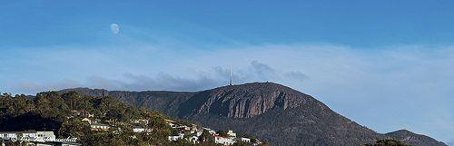 Morning Moon (Waning Gibbous Moon (80% full)) above Mt Wellington on 26062013 :)