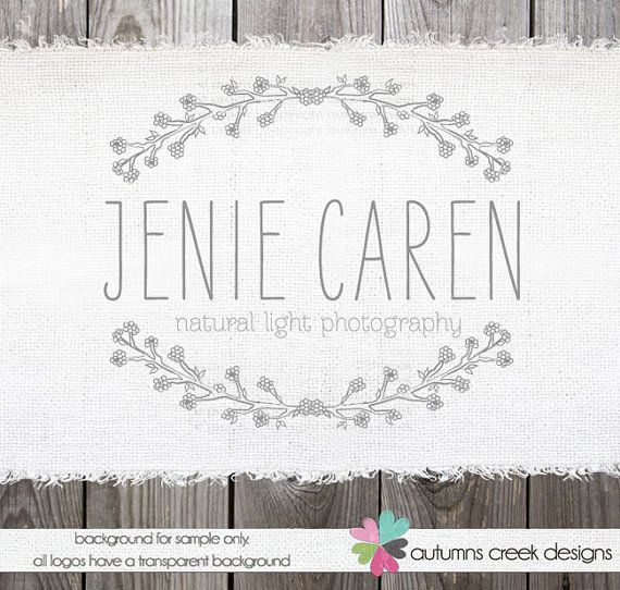 EXCLUSIVE Premade Logo Design -  Sweet twig floral frame illustration boutique photography Logo Design  OOAK Hand Drawn