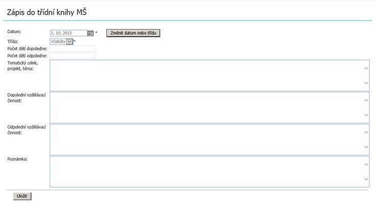 Nový formulář pro zápis do třídní knihy v mateřských školách > Škola OnLine