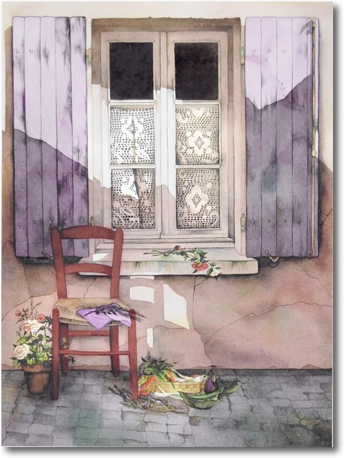 Pomm's Famous Watercolor Painting Gallery | French Countryside | Doors & Windows | Landscape | Children on the Beach | Watercolor Prints