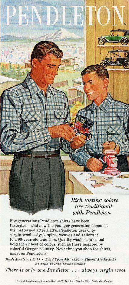 1959 Rich Lasting Colors / Mens & Boys Matching Shirts (GentlemansGazette.com)