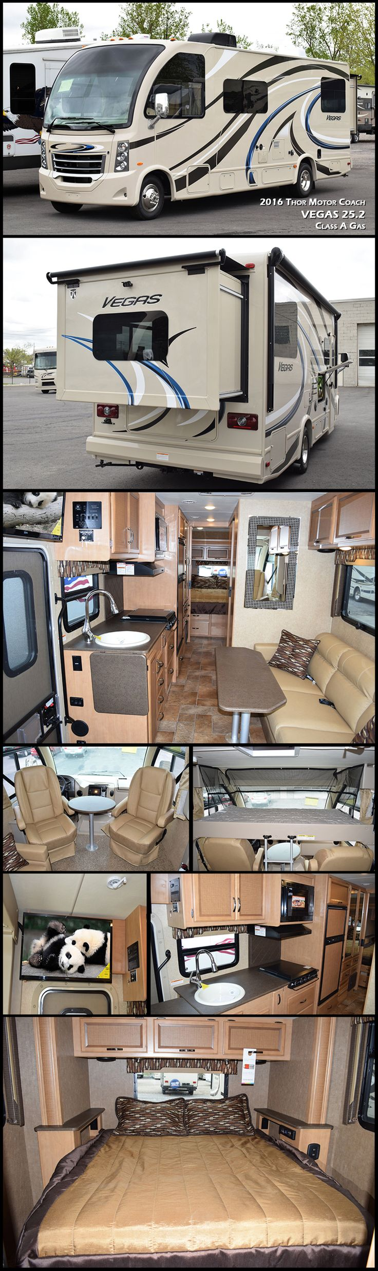 "Check Out The All-New 2016 Vegas 25.2 Class A Gas Motorhome by Thor Motor Coach. This is what Thor considers an RUV or ""Recreational Utility Vehicle"" because it is intended to be used for everything from your mobile hotel room when your kids have an out of town sports game, to your home-away-from-home on a cross country road trip!"