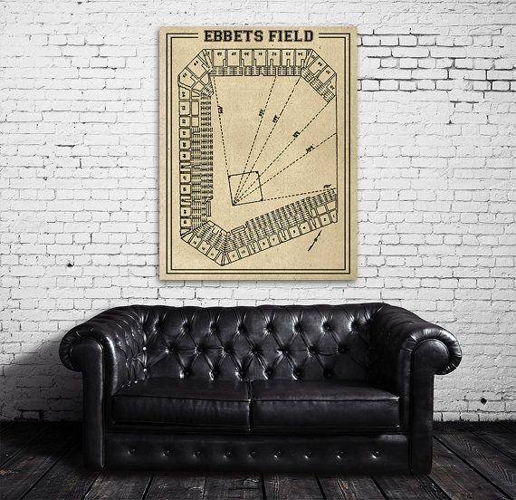 Print of Vintage Ebbets Field Seating Chart Blueprint Photo Paper Matte CANVAS New York Brooklyn Dodgers Antique Decor Sports Baseball Art