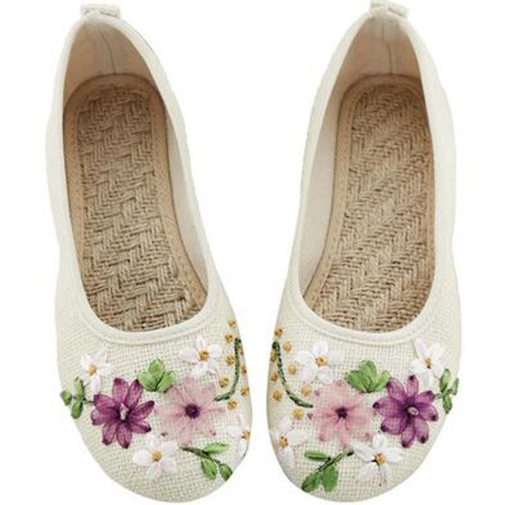 2016 Spring Retro Style Shoes Women Old Peking Flats Chinese Flower Embroidery Canvas Linen Shoes sapato feminino Big Size 42-in Women's Flats from Shoes on Aliexpress.com | Alibaba Group