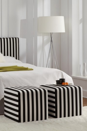 Upholstered Cube Ottoman   Canopy Stripe Black And White