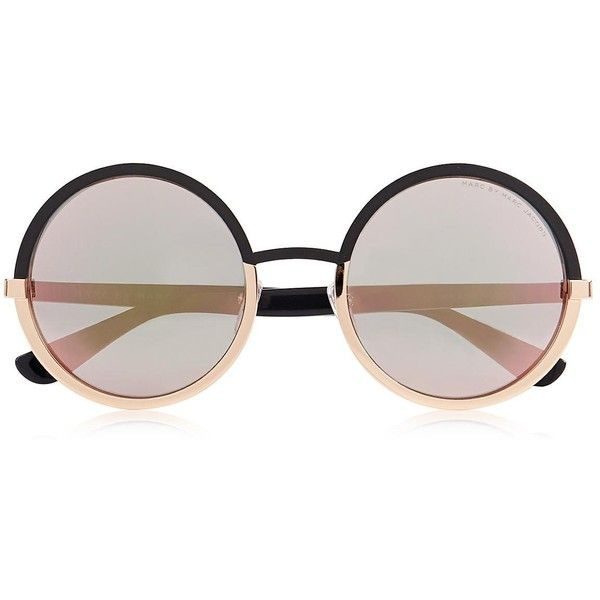 Marc By Marc Jacobs Oversized Round Sunglasses ($190) ❤ liked on Polyvore featuring accessories, eyewear, sunglasses, glasses, oculos, sunnies, mod sunglasses, over sized sunglasses, oversized glasses and round sunglasses
