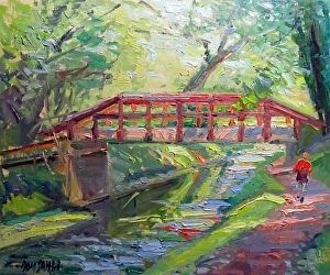 Lathrop's Red Bridge by Don Sahli Oil ~ 20 x 24