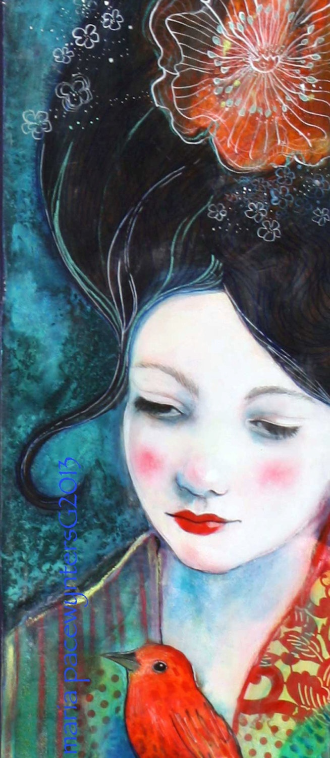 Tell Me Your Secrets Original mixed media by MariaPaceWynters, $600.00