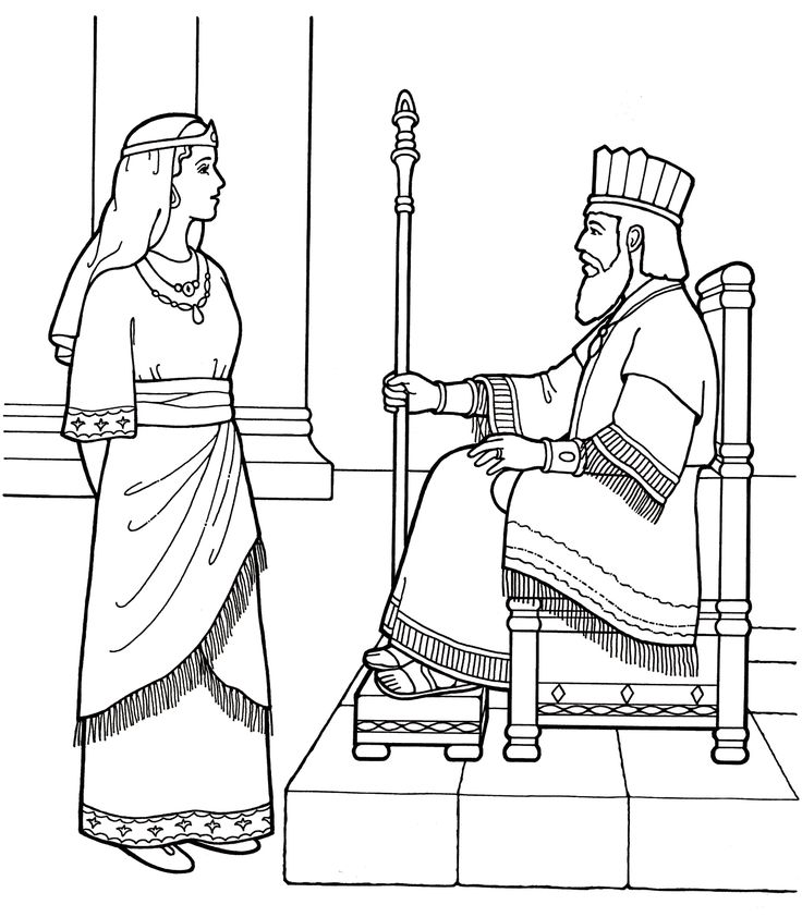 An lds primary coloring page from lds org queen esther with the king