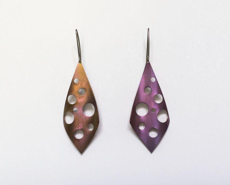 Purple long titanium earrings,  dangle earrings from Arpelc Blue Titanium Jewelry by DaWanda.com