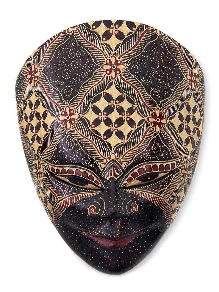 Faith and Confidence Wood Batik Mask - Gilt Home