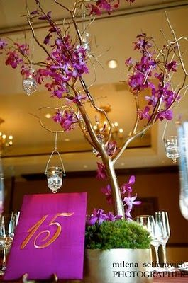 Manzanita and Orchid centerpieces