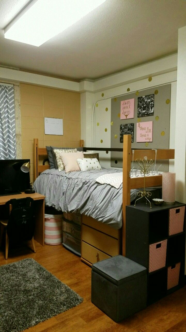 Grey pink and gold dorm room in Jester East at UT  Dorm