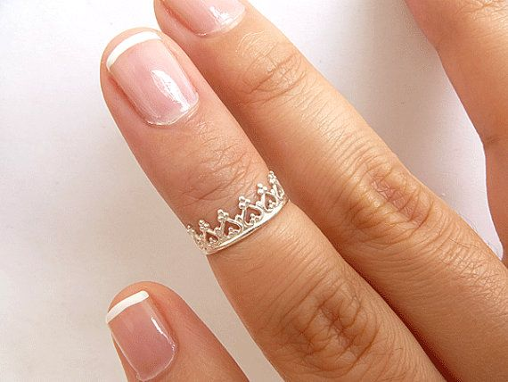 Crown Knuckle Ring  Sterling Silver Above by PRECIOUSWINGSCOM, $16.00