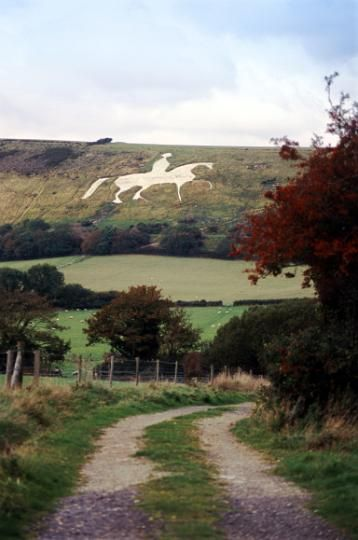The Osmington White Horse is a hill figure sculpted in 1808 into the limestone Osmington hill just north of Weymouth called the South Dorset Downs. The figure is of King George III, who regularly visited Weymouth, and made it 'the first resort'.