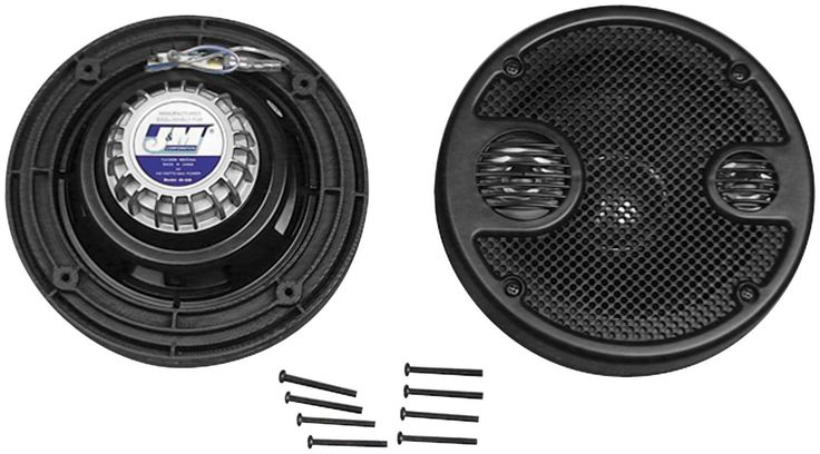 J&M 5.25 in. Rear Speaker Upgrade Kit for 06-12 Harley Ultra. Features built in tweeter and mid range drivers. O.E. factory mounting. 120 watts output. 2 ohms impedance. Waterproof injection molded cone.