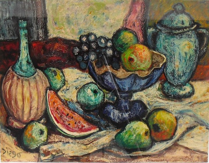 """DiegoVoci™ knew Coop Cooprider quite well. Of the 5 Dozen plus oil paintings Patti & Coop have owned since early the 1970's. Few still life Diegos grace their collection, but """"Still Life with Watermelon"""" (23"""" x  29"""") was a favorite pick back then having moved to Germany from Montana, USA. The Pinterest Board the DVP™ has compiled shows a small but very broad interpretation."""