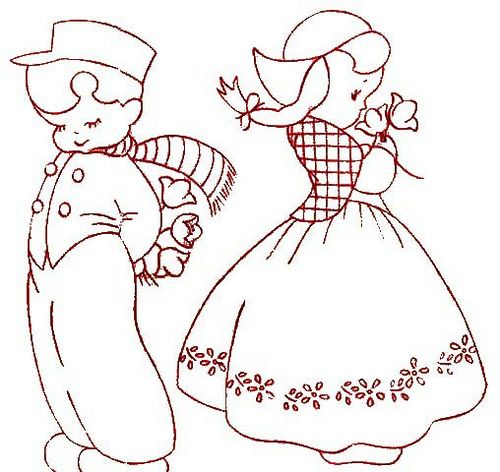 redwork embroidery 19 dutch boy & girl by frambozerood, via Flickr
