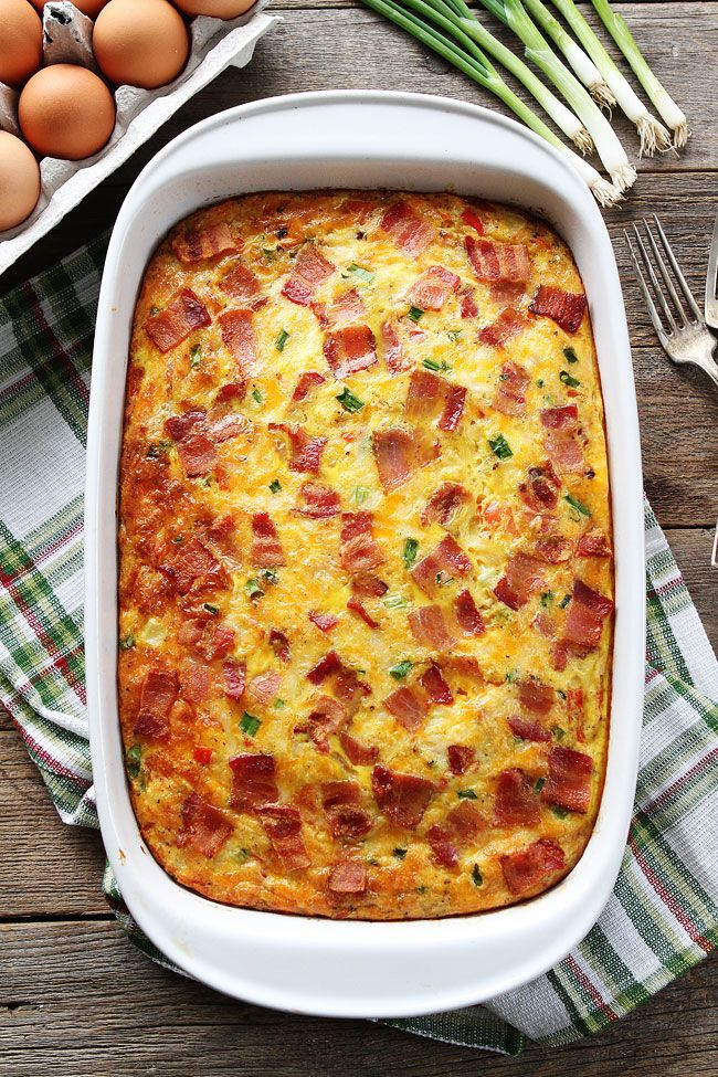 Bacon, Potato, and Egg Casserole Recipe on twopeasandtheirpod.com This easy breakfast casserole is packed with bacon, potatoes, and cheese! It can be made in advance and is a real crowd pleaser!