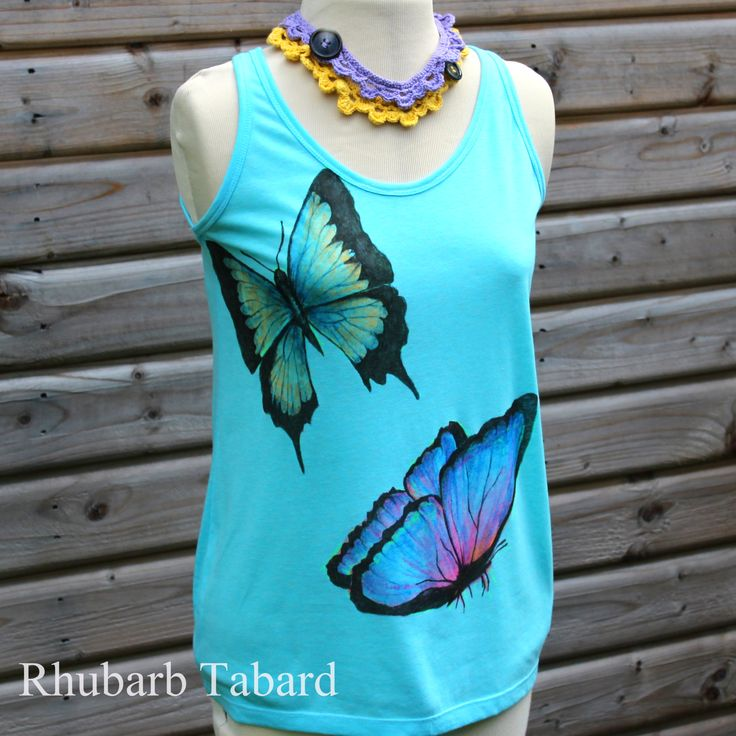 Butterfly vest , butterfly t-shirt, butterfly cami,  hand drawn , multicolour vest top, butterfly t-shirt (scheduled via http://www.tailwindapp.com?utm_source=pinterest&utm_medium=twpin)