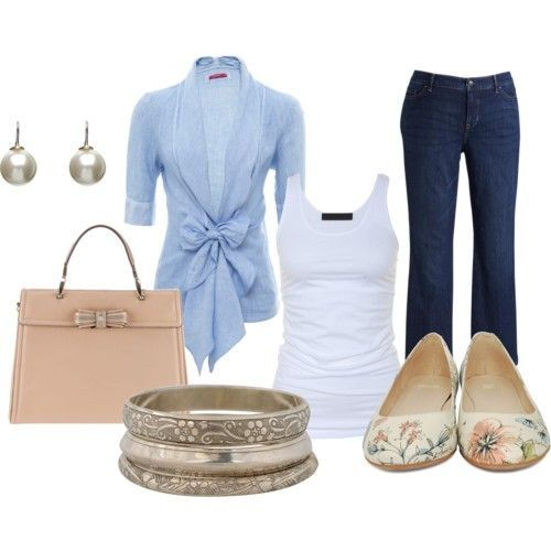 love this whole look: Shoes, Baby Blue, Sweaters, Casual Friday, Cute Outfits, Blue Shirts, Bows, Flats, Business Casual
