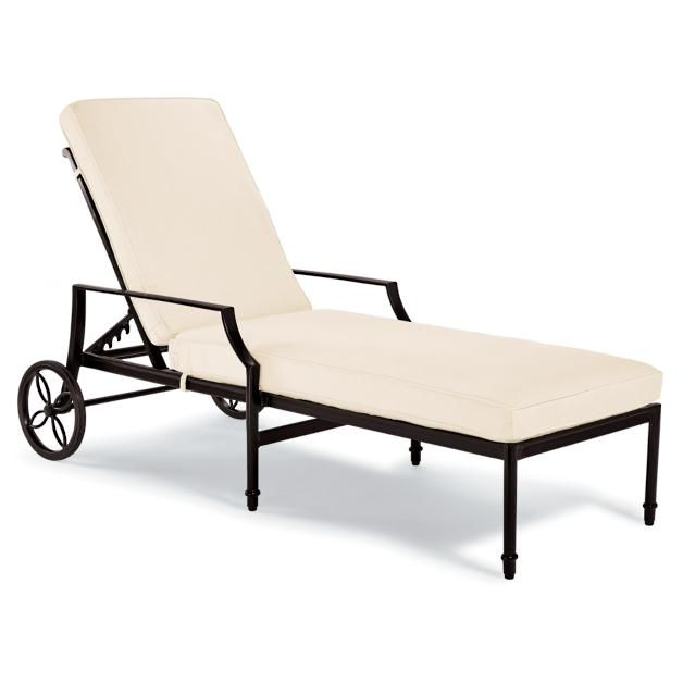 Grayson Chaise Lounge Chair with Cushions in Black Finish