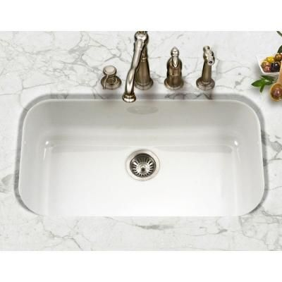 HOUZER Porcela Series Undermount Porcelain Enamel Steel 17.3 in. Large Single Bowl Kitchen Sink in White - PCG-3600 WH - The Home Depot