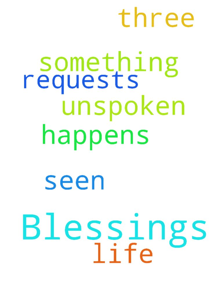 Blessings -  Dear Father, I have seen your blessings in my life. Thank you for this. I have three unspoken requests. I am praying until something happens. In Jesus name Amen.  Posted at: https://prayerrequest.com/t/N45 #pray #prayer #request #prayerrequest