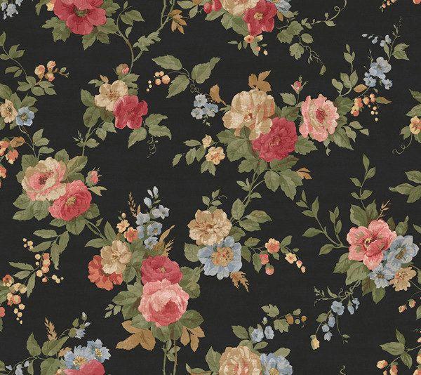 Vining Vintage Roses on Black Wallpaper Sold by DMarieInteriors