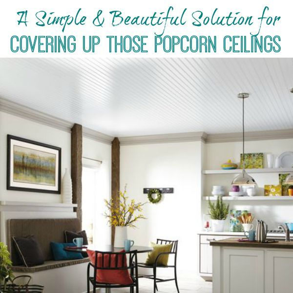 A simple and beautiful solution for covering up popcorn ceilings using the Armstrong Ceiling system.