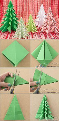 Новогодние елочки из бумаги в технике оригами