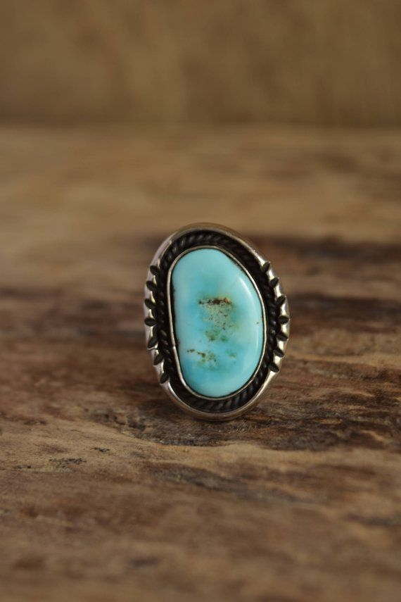 Vintage Turquoise Ring Sterling Silver Ring Size 7 Ring Boho Ring Vintage Silver Ring
