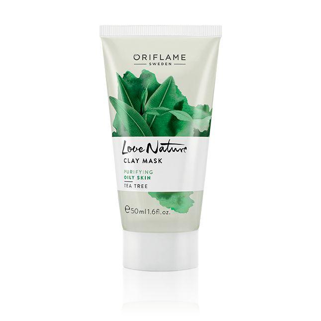 Mascarilla de Arcilla con Árbol de Té Love Nature #oriflameMascarilla refrescante con aceite esencial de Árbol de Té antimicrobiano que limpia los poros, absorbe el exceso de sebo y re-equilibra los niveles de grasa de la piel, dejándola suave y matificada. Aplicar sobre la piel limpia 1-2 veces por semana, evitando el CONTACTO con los ojos. Dejar actuar 10 minutos y aclarar. 50  ml. Código:30154