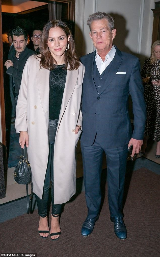 Katharine Mcphee And Husband David Foster November 2019 Fashion Coat Lab Coat