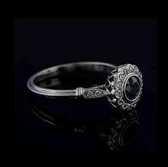 14k white gold diamond sapphire flower engagement ring