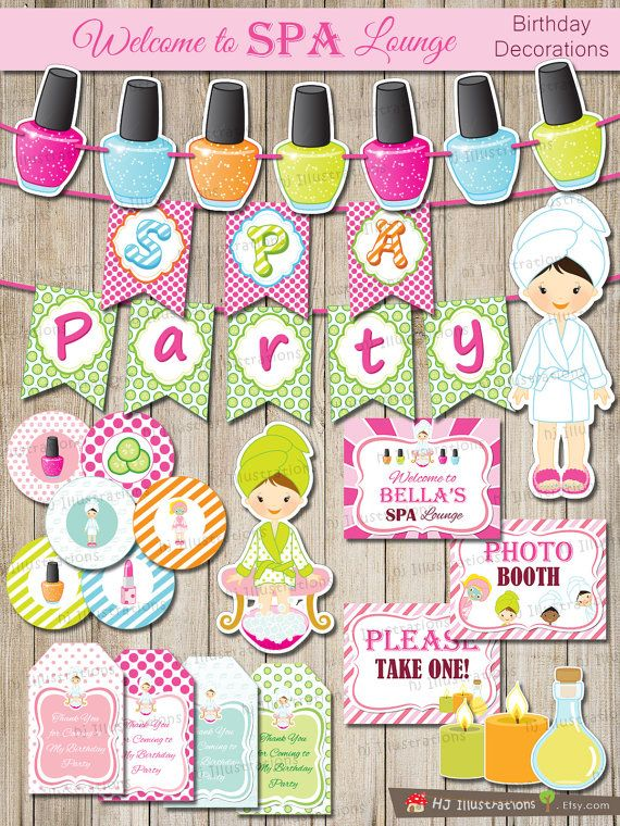 SPA Spa Party Invitation Kids spa party SPA by hjIllustrations, $19.99