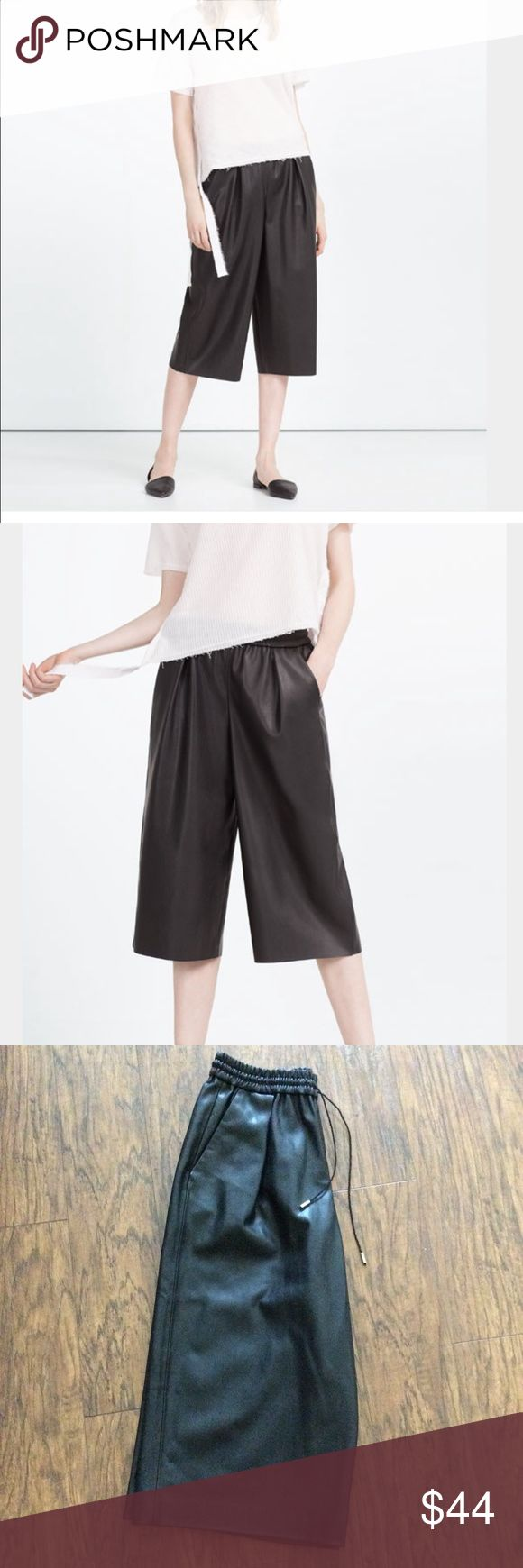 Faux leather culottes style Bermuda shorts New without tags. Features pickets, stretch waistband with waist tie. Zara Shorts Bermudas