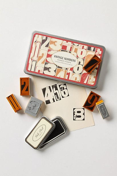 Vintage numbers stamps- letterpress style. So very cool. Must have!!