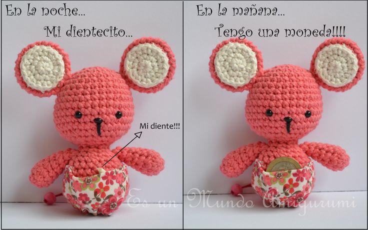 Amigurumi Ratoncita Pérez - Patrón Gratis en Español aquí: http://esunmundoamigurumi.blogspot.com.es/2014/06/patron-gratis-ratoncita.html Tutorial ༺✿Teresa Restegui http://www.pinterest.com/teretegui/✿༻