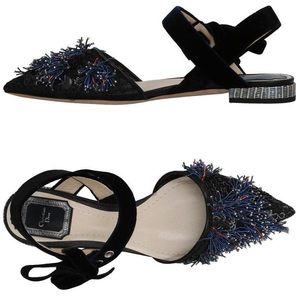 Dior Ballet Flats (14.465.860 IDR) ❤ liked on Polyvore featuring shoes, flats, black, flat shoes, black skimmer, black sequin flats, flat slingbacks and black flat shoes