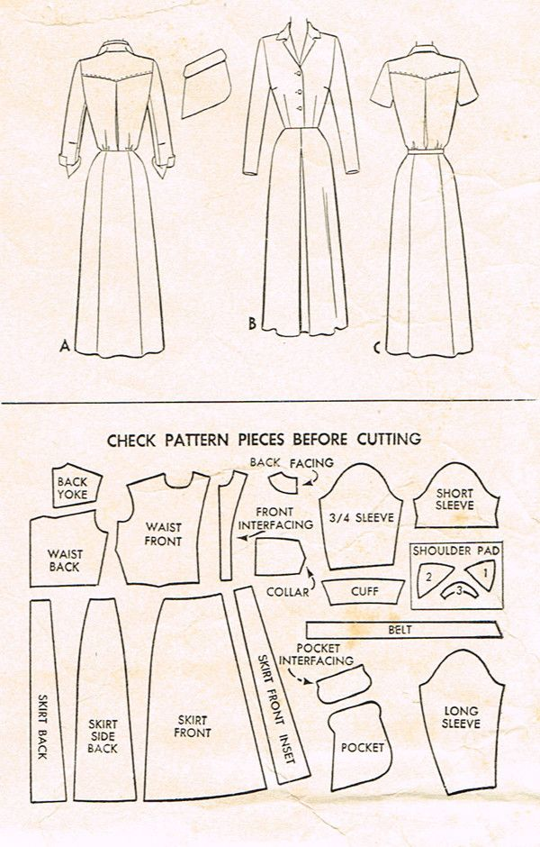 1940s Vintage Day Dress Pattern McCall Sewing Pattern 7758 Sz 32 B