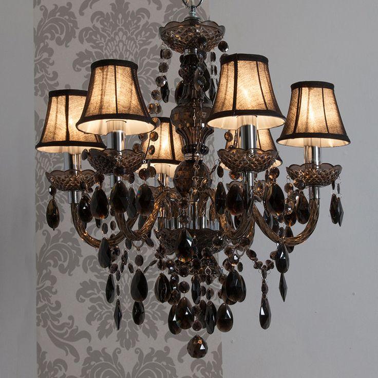 Lustre baroque 6 branches en acrylique et tissu Romeo
