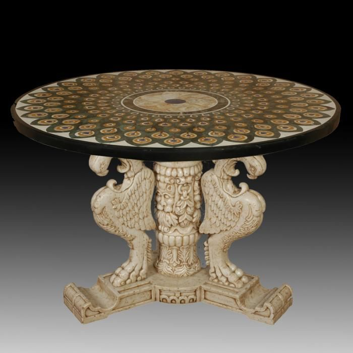Marble Inlay Table Tops : Best round pietra dura marble inlay dinning table top